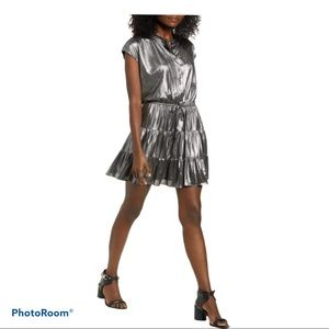 Rebecca Minkoff Ollie Metallic grey mini dress